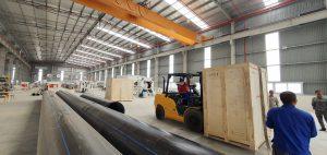 bàn giao máy hàn ống cho công ty cấp nước sạch